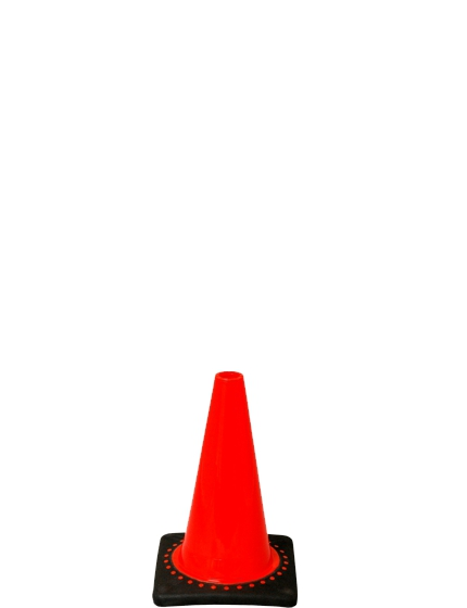 "12"" Orange Traffic Cone - Black Base"