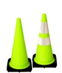 "Lime 28"" Traffic Cone with Black Base"