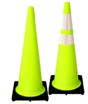 "Lime 36"" 10 Lb. Traffic Cone with Black Base"